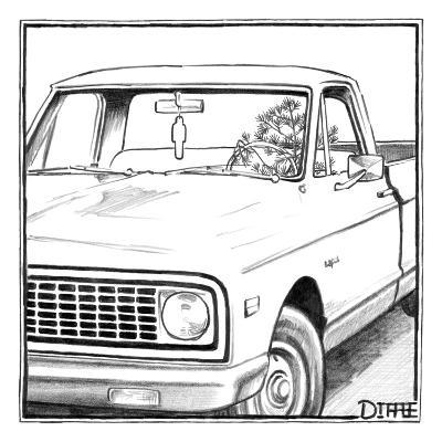 A tree in the shape of a car air-freshener drives a car with an air-freshe? - New Yorker Cartoon-Matthew Diffee-Premium Giclee Print