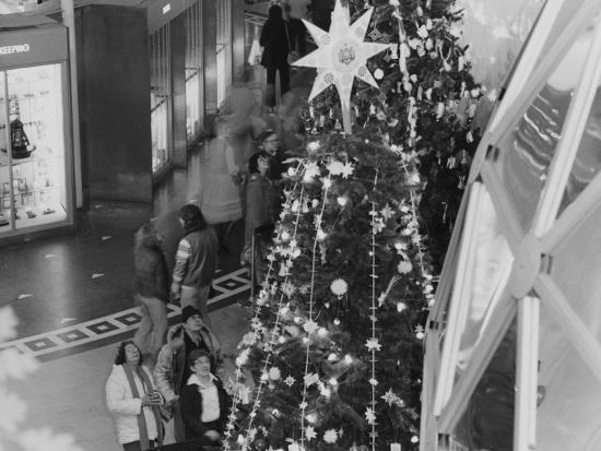 A Tree Topped with a Large Star on Display During the Christmas around the World Exhibit--Photographic Print