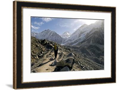 A Trekker on the Everest Base Camp Trail, Nepal-David Noyes-Framed Photographic Print