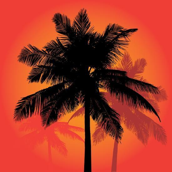 A Trio of Tropical Coconut Palm Tree Silhouettes Illustration in Vector Format.-ARENA Creative-Art Print