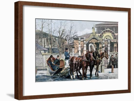 A Troika Sled in Moscow, Russia, C1890- Gillot-Framed Giclee Print