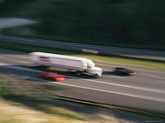 A Truck and Two Cars Barreling Down the Highway-Brian Gordon Green-Photographic Print