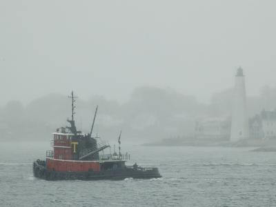 A Tugboat Travels Through Fog Past New London Harbor Light-Todd Gipstein-Photographic Print