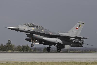 A Turkish Air Force F-16D Landing on the Runway at Konya Air Base-Stocktrek Images-Photographic Print