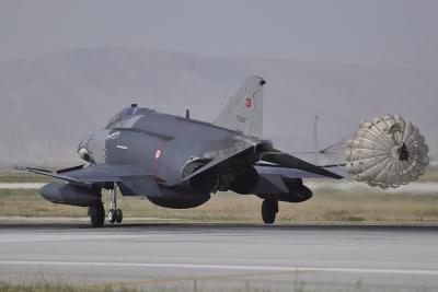 A Turkish Air Force F-4E 2020 Terminator Deploys its Drag Chute Upon Landing-Stocktrek Images-Photographic Print
