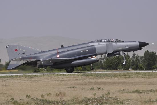 A Turkish Air Force F-4E 2020 Terminator Landing at Konya Air Base, Turkey-Stocktrek Images-Photographic Print