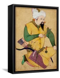 A Turkoman or Mongol Chief Holding an Arrow, from the Large Clive Album, 1591-92