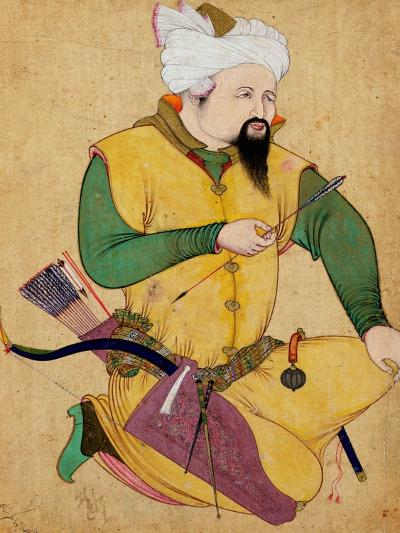 A Turkoman or Mongol Chief Holding an Arrow, from the Large Clive Album, 1591-92--Giclee Print