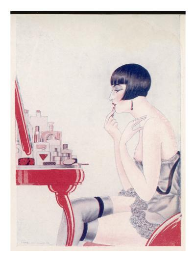 A Twenties Girl at Her Dressing Table Adds a Final Touch of Lipstick--Giclee Print