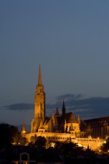 A Twilight View of Matthias Church in Buda Castle-Joe Petersburger-Photographic Print