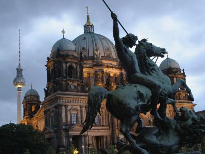 A Twilight View of the Berlin Cathedral, Berlin Landmarks at Night-Jim Webb-Photographic Print