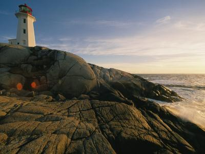 A Twilight View of the Peggys Cove Lighthouse Atop Smooth Rock-Michael S^ Lewis-Photographic Print