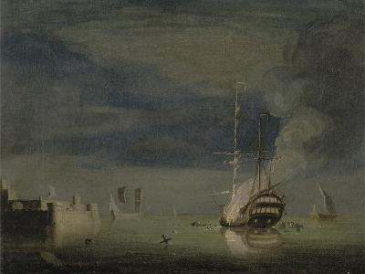 A Two-Decker on Fire at Night Off a Fort, C.1740-Charles Brooking-Giclee Print