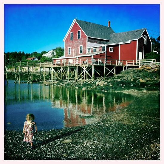 A Two Year Old Girl Walks the Low Tide Shoreline at Orr's Island  Photographic Print by Skip Brown | Art com