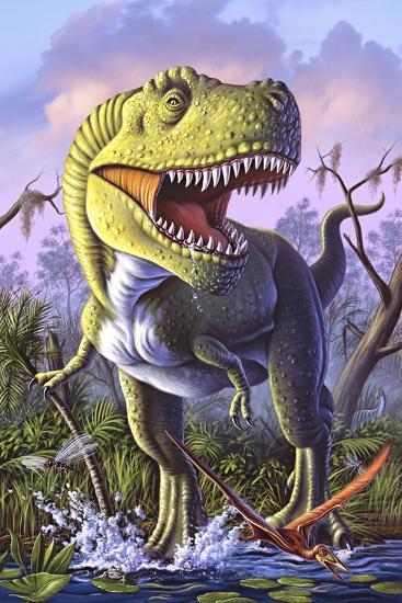 A Tyrannosaurus Rex Crashes Through a Swamp--Art Print