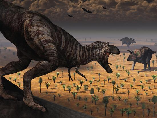 A Tyrannosaurus Rex Spots Two Passing Triceratops-Stocktrek Images-Photographic Print