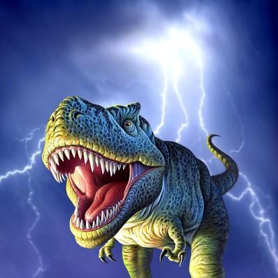 A Tyrannosaurus Rex with a Blue Stormy Sky and Lightning Behind It--Art Print