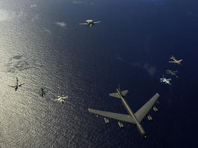 A U.S. Air Force B-52 Stratofortress Aircraft Leads a Formation of Aircraft-Stocktrek Images-Photographic Print