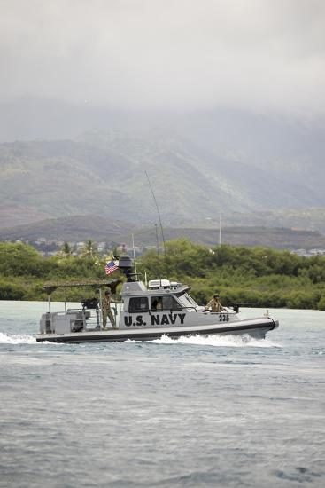 A U.S. Navy Patrol Boat in Pearl Harbor--Photographic Print