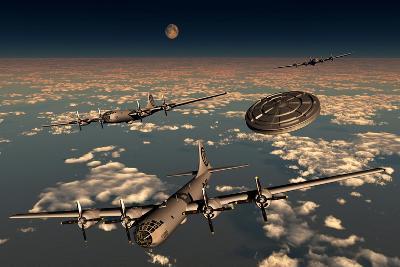 A Ufo Buzzing a Group of B-29 Superfortress Aircraft--Art Print