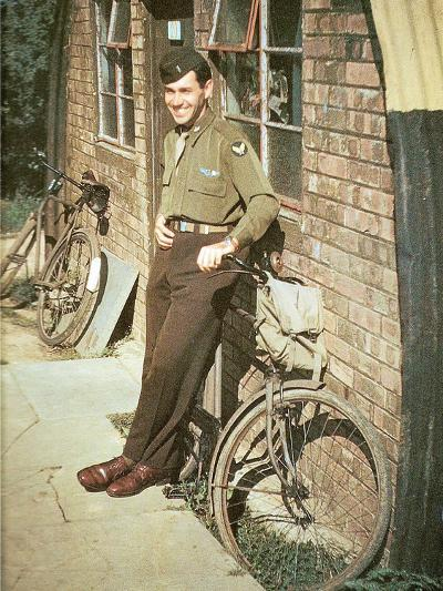 A United States Air Force Pilot Standing in Front of His Quarters, England, United Kingdom, 1944--Photographic Print