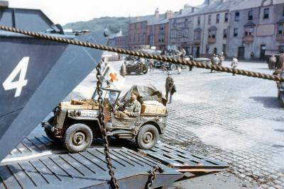 A United States Army Ambulance Jeep Boarding a Landing Craft Transport--Photographic Print