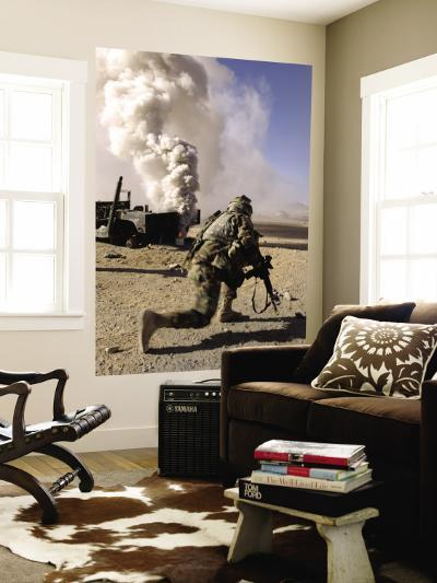 A US Army Soldier Reacts to a Controlled Explosion--Wall Mural
