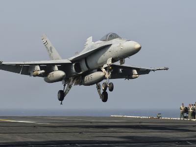 A US Navy F/A-18C Hornet Prepares to Land Aboard USS Eisenhower-Stocktrek Images-Photographic Print