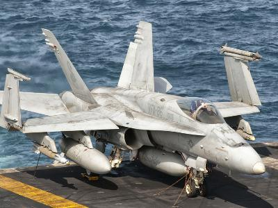 A US Navy F/A-18C Hornet Tied on the Flight Deck of USS Nimitz-Stocktrek Images-Photographic Print