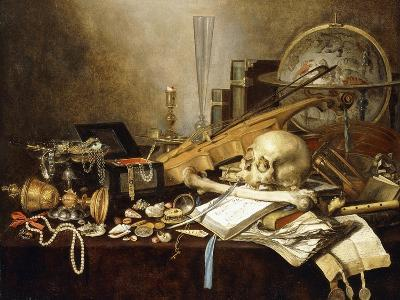 A Vanitas Still Life of Musical Instruments and Manuscripts, an Overturned Gilt Covered Goblet, a…-Pieter Claesz-Giclee Print