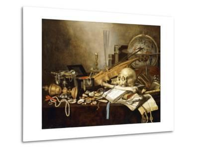 A Vanitas Still Life of Musical Instruments and Manuscripts, an Overturned Gilt Covered Goblet, a?-Pieter Claesz-Metal Print