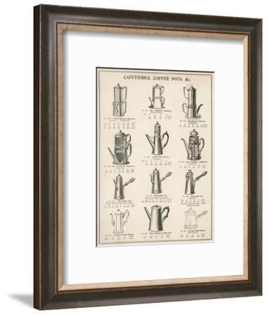 A Variety of Coffee Pots and Cafetieres from a Household Goods Catalogue--Framed Giclee Print