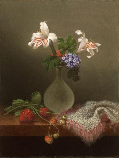 A Vase of Corn Lilies and Heliotrope, 1863-Martin Johnson Heade-Giclee Print