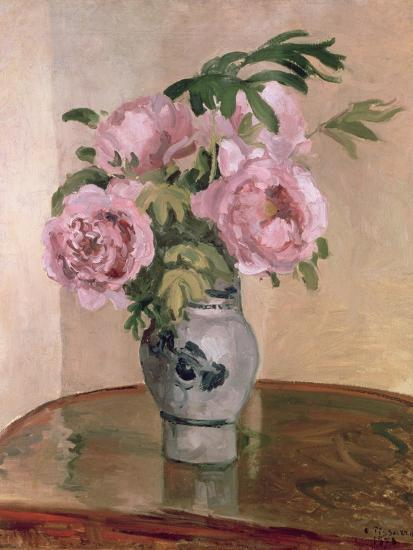 A Vase of Peonies, 1875-Camille Pissarro-Giclee Print