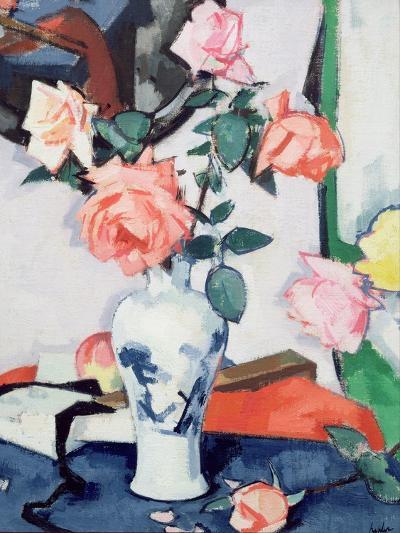 A Vase of Pink Roses-Samuel John Peploe-Giclee Print
