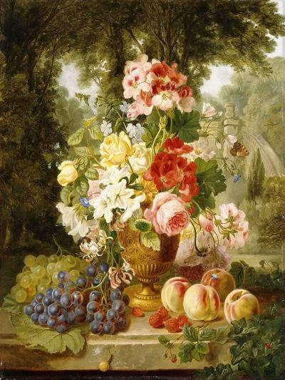 A Vase of Summer Flowers and Fruit on a Ledge in a Landscape, 1867-William John Wainwright-Giclee Print