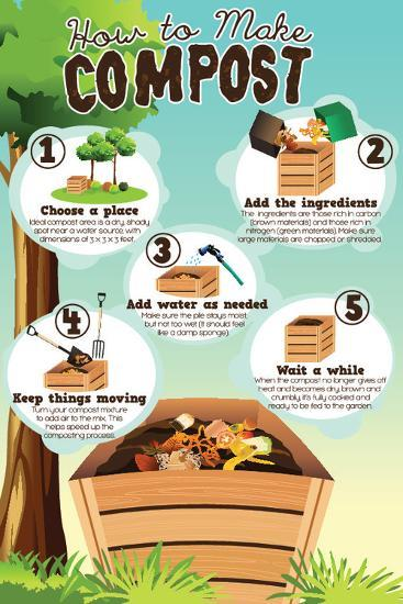 A Vector Illustration of How to Make Compost Infographic-Artisticco LLC-Art Print