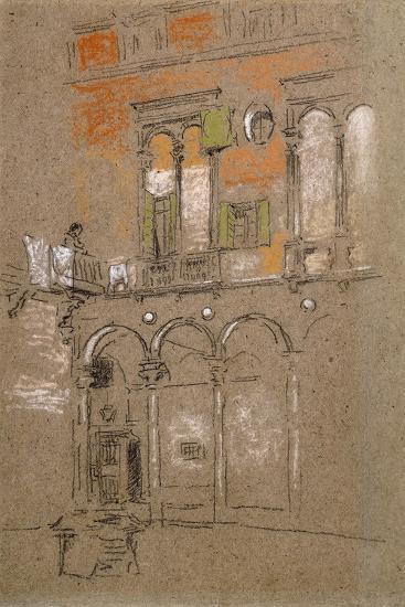 A Venetian Courtyard-James Abbott McNeill Whistler-Giclee Print