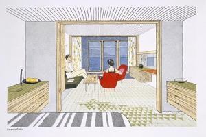 A Veranda Cabin Aboard the SS Oriana, from a Promotional Brochure