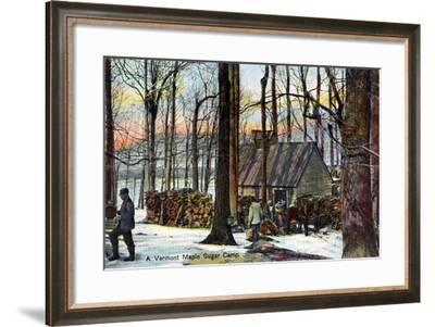 A Vermont Maple Sugar Camp, USA, Early 20th Century--Framed Giclee Print
