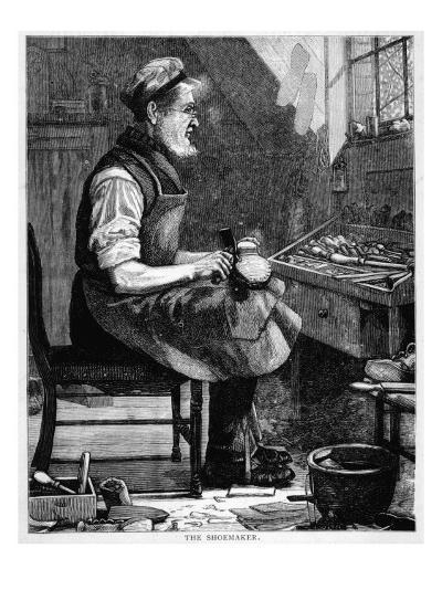 A Victorian Shoemaker in His Workshop--Giclee Print