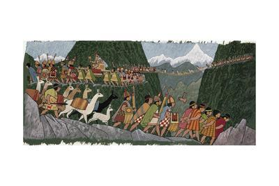 A Victorious Inca Emperor and His Army March Home to Cuzco-Ned M. Seidler-Giclee Print