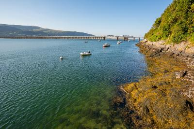 A View across the Estuary to Barmouth Viaduct Barmouth Gwynedd Wales UK-David Holbrook-Photographic Print