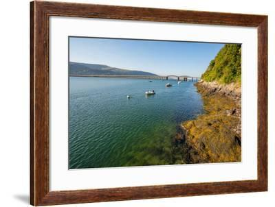 A View across the Estuary to Barmouth Viaduct Barmouth Gwynedd Wales UK-David Holbrook-Framed Photographic Print