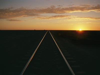 A View at Sunrise of the Indian Pacific Railroad Crossing the Nullarbor Plain-Richard Nowitz-Photographic Print
