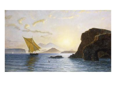 A View from Ischia Showing the Island of Procida, Vesuvius and Cape Miseno, Italy, 1890-Berthoud Leon-Giclee Print
