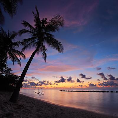 A View of a Beach with Palm Trees and Swing at Sunset, Kuredu Island, Maldives, Lhaviyani Atoll-Ljsphotography-Photographic Print