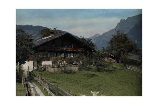 A View of a Beautiful Farmhouse and Garden in Grindelwald-Hans Hildenbrand-Photographic Print