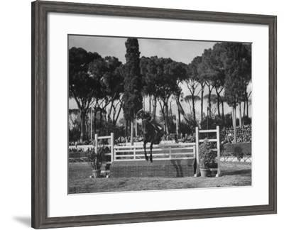 A View of a Horse Jumping an Obstical at the International Horse Show-Carl Mydans-Framed Premium Photographic Print