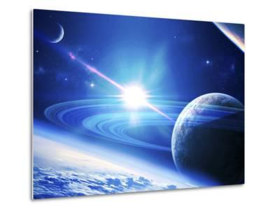 A View of a Planet as it Looms in Close Orbit and with Rings So Close You Can Almost Touch Them-Stocktrek Images-Metal Print